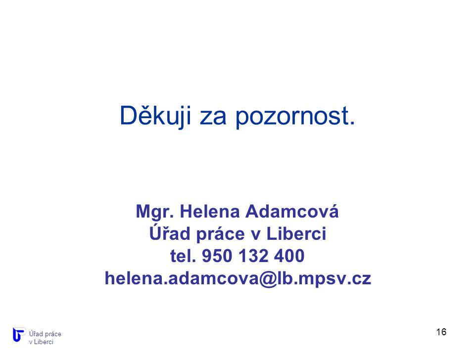 16 Děkuji za pozornost. Mgr. Helena Adamcová Úřad práce v Liberci tel.