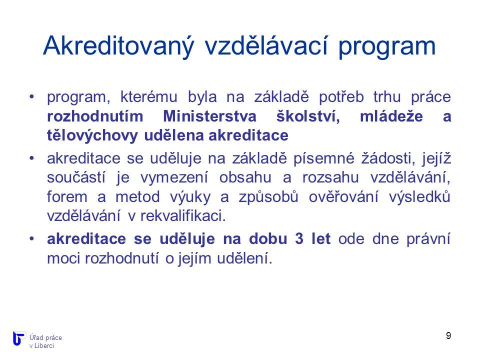 9 Akreditovaný vzdělávací program program, kterému byla na základě potřeb trhu práce rozhodnutím Ministerstva školství, mládeže a tělovýchovy udělena akreditace akreditace se uděluje na základě písemné žádosti, jejíž součástí je vymezení obsahu a rozsahu vzdělávání, forem a metod výuky a způsobů ověřování výsledků vzdělávání v rekvalifikaci.