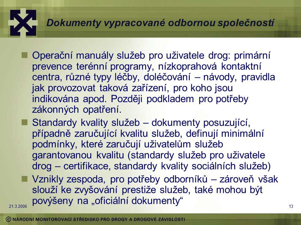 21.3.200613 Dokumenty vypracované odbornou společností Operační manuály služeb pro uživatele drog: primární prevence terénní programy, nízkoprahová ko