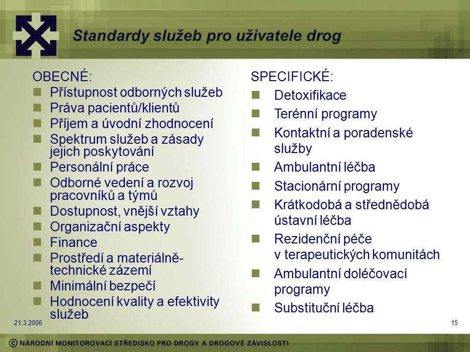 21.3.200615 Standardy služeb pro uživatele drog OBECNÉ: Přístupnost odborných služeb Práva pacientů/klientů Příjem a úvodní zhodnocení Spektrum služeb a zásady jejich poskytování Personální práce Odborné vedení a rozvoj pracovníků a týmů Dostupnost, vnější vztahy Organizační aspekty Finance Prostředí a materiálně- technické zázemí Minimální bezpečí Hodnocení kvality a efektivity služeb SPECIFICKÉ: Detoxifikace Terénní programy Kontaktní a poradenské služby Ambulantní léčba Stacionární programy Krátkodobá a střednědobá ústavní léčba Rezidenční péče v terapeutických komunitách Ambulantní doléčovací programy Substituční léčba