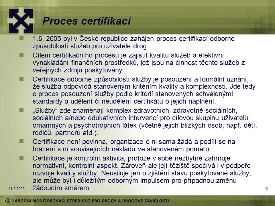 21.3.200616 Proces certifikací 1.6. 2005 byl v České republice zahájen proces certifikací odborné způsobilosti služeb pro uživatele drog. Cílem certif