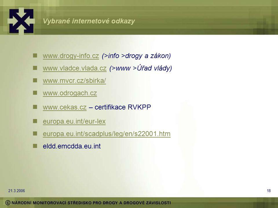 21.3.200618 Vybrané internetové odkazy www.drogy-info.cz (>info >drogy a zákon) www.drogy-info.cz www.vladce.vlada.cz (>www >Úřad vlády) www.vladce.vl