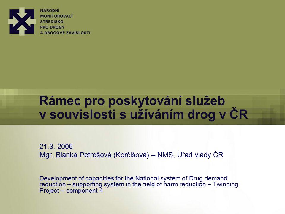 Rámec pro poskytování služeb v souvislosti s užíváním drog v ČR 21.3. 2006 Mgr. Blanka Petrošová (Korčišová) – NMS, Úřad vlády ČR Development of capac