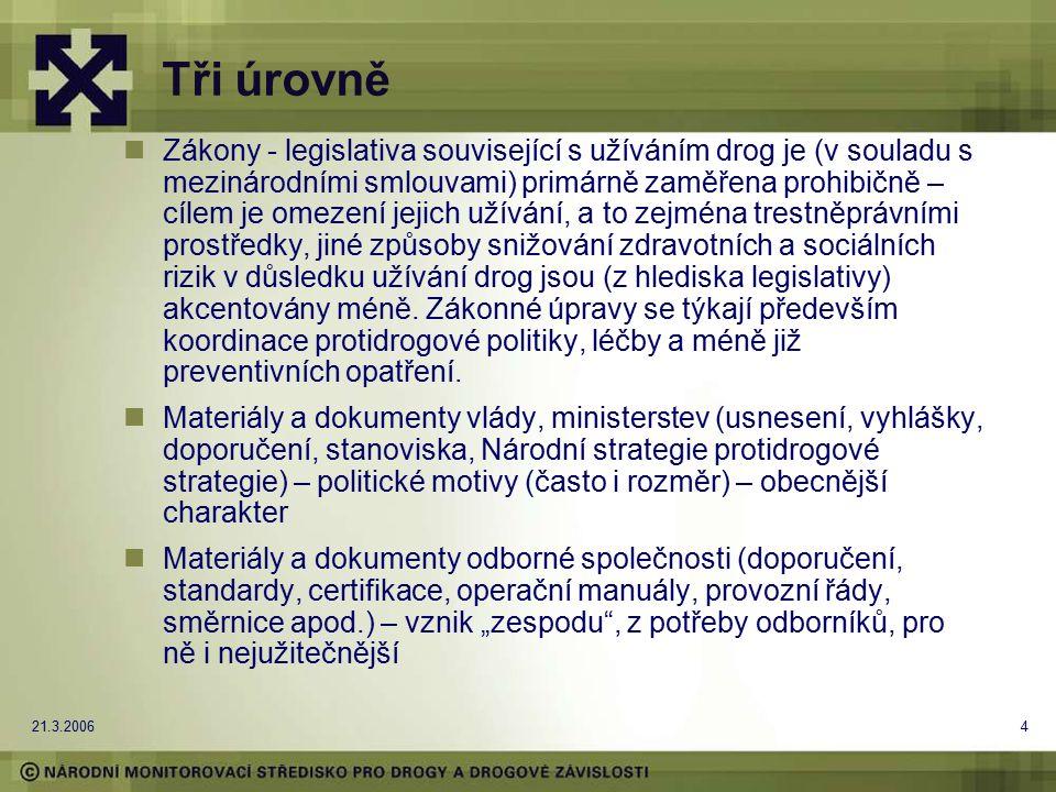 21.3.20064 Tři úrovně Zákony - legislativa související s užíváním drog je (v souladu s mezinárodními smlouvami) primárně zaměřena prohibičně – cílem je omezení jejich užívání, a to zejména trestněprávními prostředky, jiné způsoby snižování zdravotních a sociálních rizik v důsledku užívání drog jsou (z hlediska legislativy) akcentovány méně.