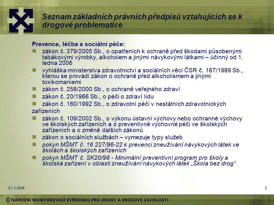 21.3.20065 Seznam základních právních předpisů vztahujících se k drogové problematice Prevence, léčba a sociální péče: zákon č. 379/2005 Sb., o opatře