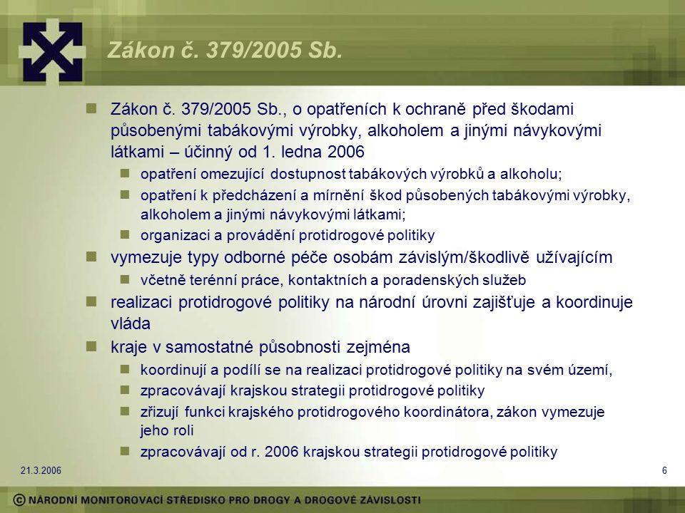 21.3.20066 Zákon č. 379/2005 Sb. Zákon č. 379/2005 Sb., o opatřeních k ochraně před škodami působenými tabákovými výrobky, alkoholem a jinými návykový