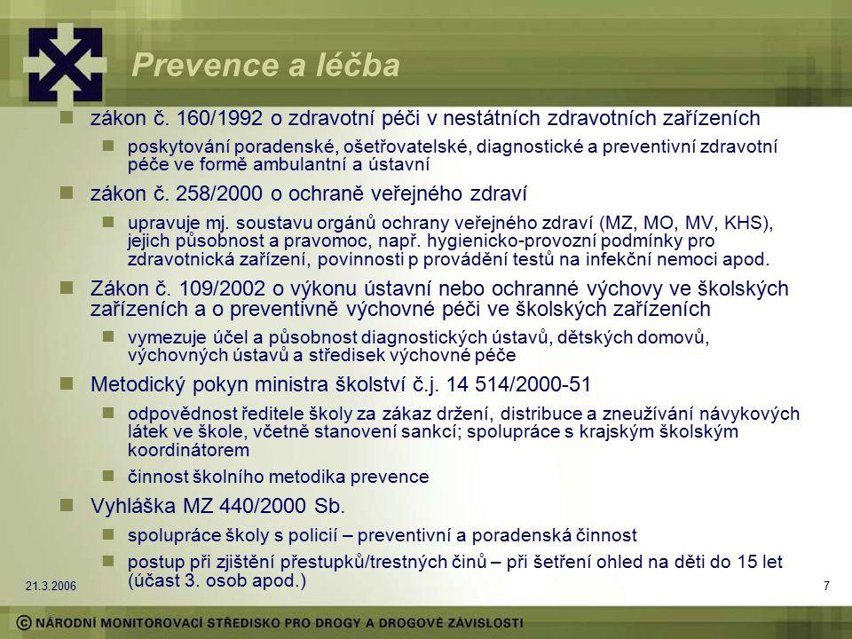 21.3.20067 Prevence a léčba zákon č. 160/1992 o zdravotní péči v nestátních zdravotních zařízeních poskytování poradenské, ošetřovatelské, diagnostick