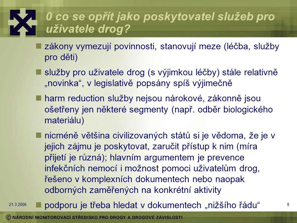 21.3.20068 0 co se opřít jako poskytovatel služeb pro uživatele drog? zákony vymezují povinnosti, stanovují meze (léčba, služby pro děti) služby pro u