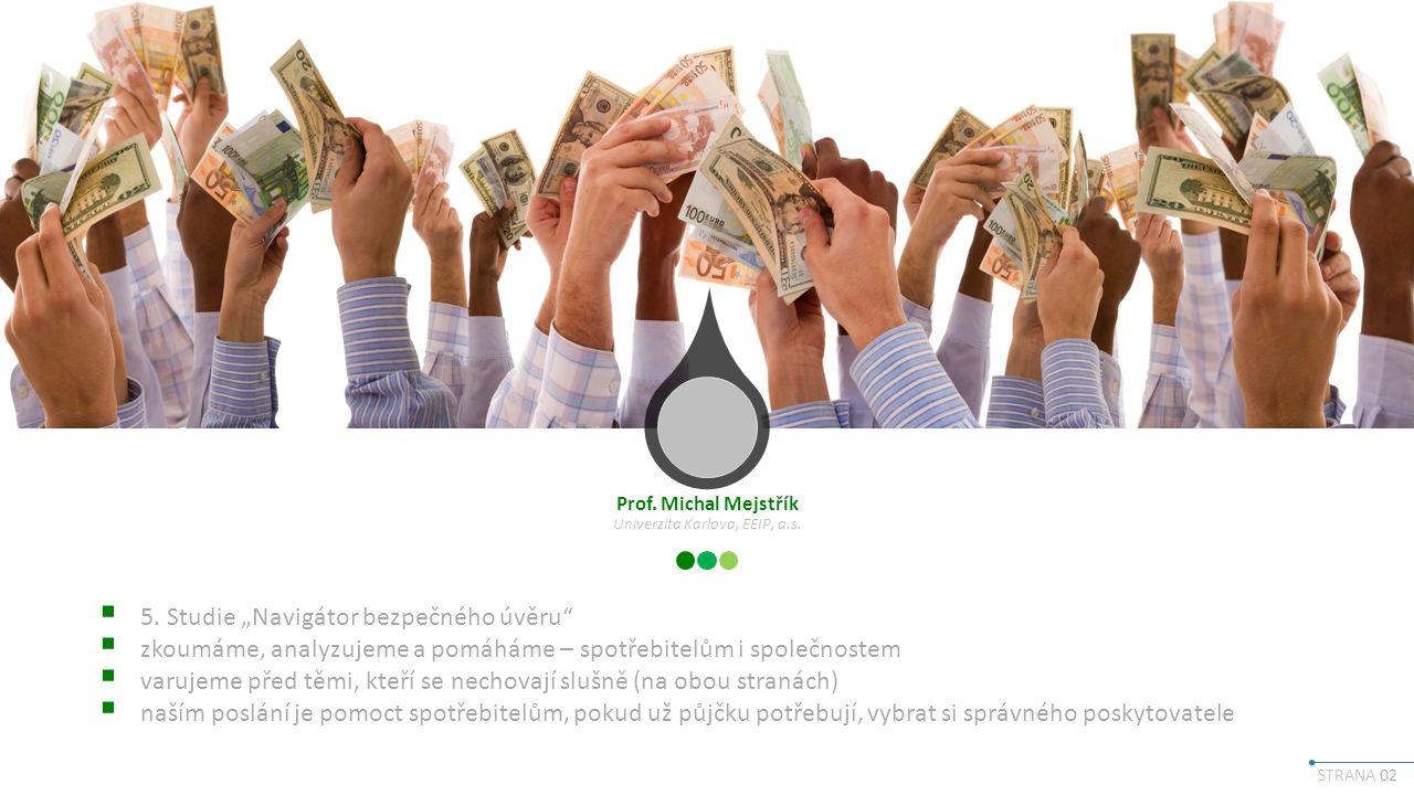 STRANA 13 Rok 2016 – rok inovací na úvěrovém trhu Hlavními inovacemi na trhu spotřebitelských úvěrů podle poskytovatelů úvěrů jsou: Digitalizace Širší využití online služeb Rychlejší vyřízení úvěru Zvýšení transparentnosti úvěrů Produktové inovace jako bonus při řádném splácení Možnost odložit splátku či snížit její velikost 01 02 03 04 05 06