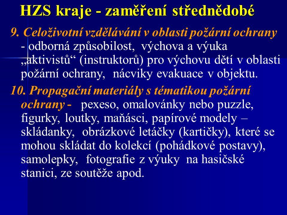 HZS kraje - zaměření střednědobé 9.