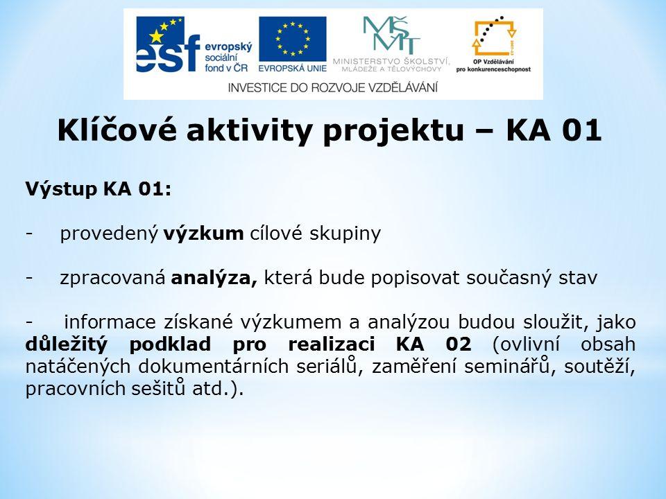 Klíčové aktivity projektu – KA 01 Výstup KA 01: - provedený výzkum cílové skupiny - zpracovaná analýza, která bude popisovat současný stav - informace získané výzkumem a analýzou budou sloužit, jako důležitý podklad pro realizaci KA 02 (ovlivní obsah natáčených dokumentárních seriálů, zaměření seminářů, soutěží, pracovních sešitů atd.).