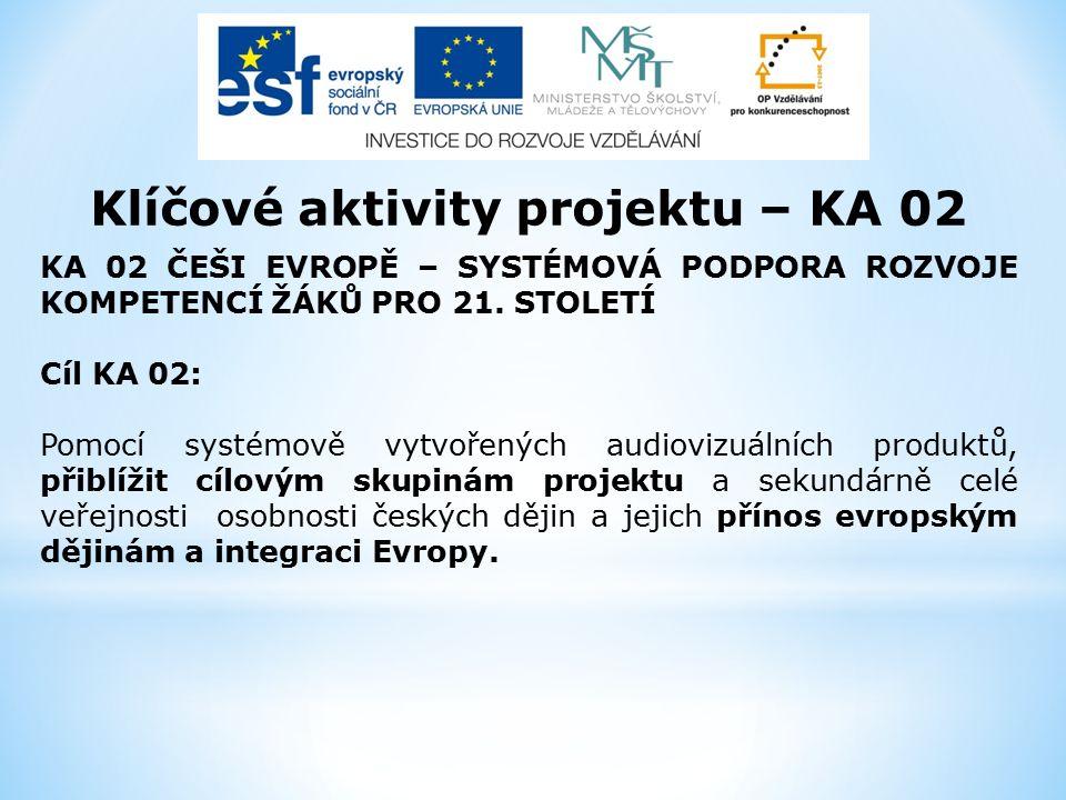 Klíčové aktivity projektu – KA 02 KA 02 ČEŠI EVROPĚ – SYSTÉMOVÁ PODPORA ROZVOJE KOMPETENCÍ ŽÁKŮ PRO 21.