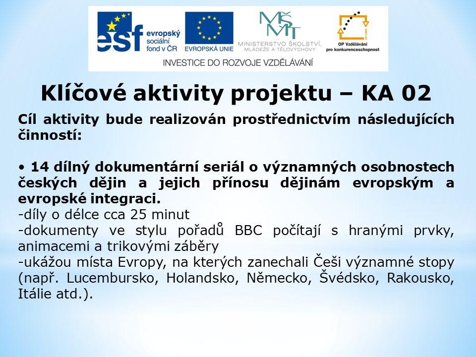 Klíčové aktivity projektu – KA 02 Cíl aktivity bude realizován prostřednictvím následujících činností: 14 dílný dokumentární seriál o významných osobnostech českých dějin a jejich přínosu dějinám evropským a evropské integraci.