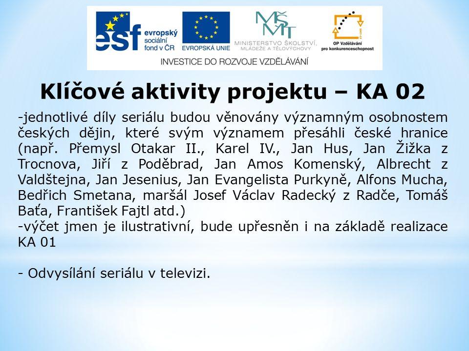 Klíčové aktivity projektu – KA 02 -jednotlivé díly seriálu budou věnovány významným osobnostem českých dějin, které svým významem přesáhli české hranice (např.