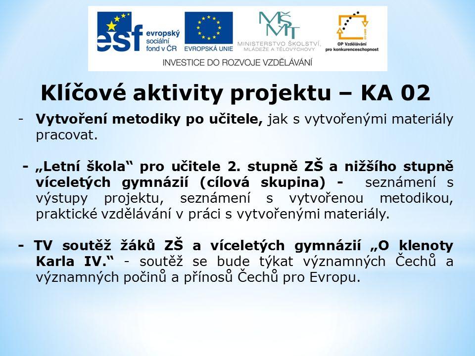 Klíčové aktivity projektu – KA 02 -Vytvoření metodiky po učitele, jak s vytvořenými materiály pracovat.