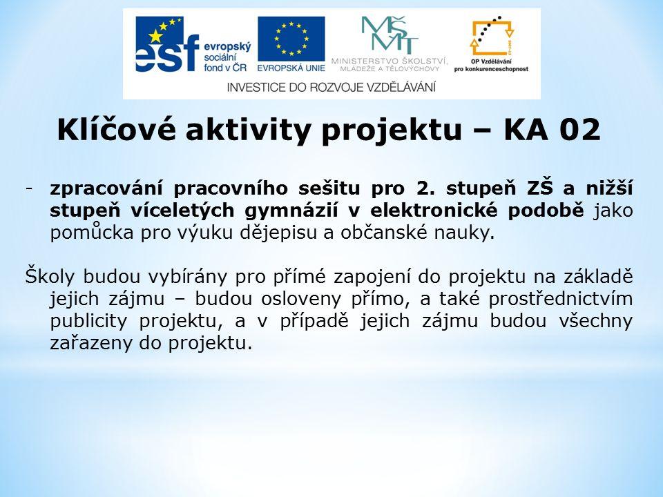 Klíčové aktivity projektu – KA 02 -zpracování pracovního sešitu pro 2. stupeň ZŠ a nižší stupeň víceletých gymnázií v elektronické podobě jako pomůcka