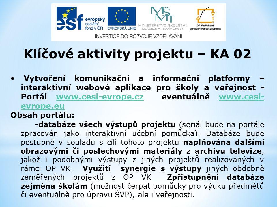 Klíčové aktivity projektu – KA 02 Vytvoření komunikační a informační platformy – interaktivní webové aplikace pro školy a veřejnost - Portál www.cesi-evrope.cz eventuálně www.cesi- evrope.euwww.cesi-evrope.czwww.cesi- evrope.eu Obsah portálu: - databáze všech výstupů projektu (seriál bude na portále zpracován jako interaktivní učební pomůcka).
