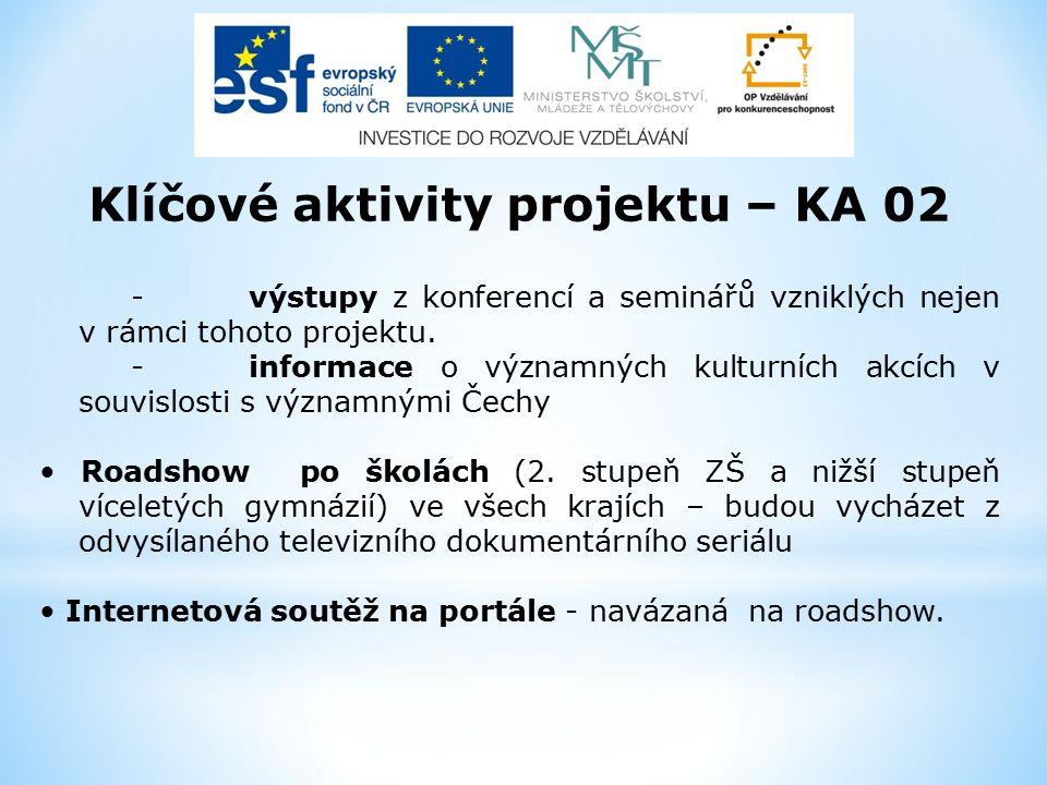 Klíčové aktivity projektu – KA 02 -výstupy z konferencí a seminářů vzniklých nejen v rámci tohoto projektu. -informace o významných kulturních akcích
