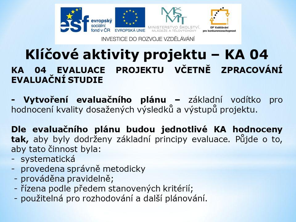 Klíčové aktivity projektu – KA 04 KA 04 EVALUACE PROJEKTU VČETNĚ ZPRACOVÁNÍ EVALUAČNÍ STUDIE - Vytvoření evaluačního plánu – základní vodítko pro hodnocení kvality dosažených výsledků a výstupů projektu.