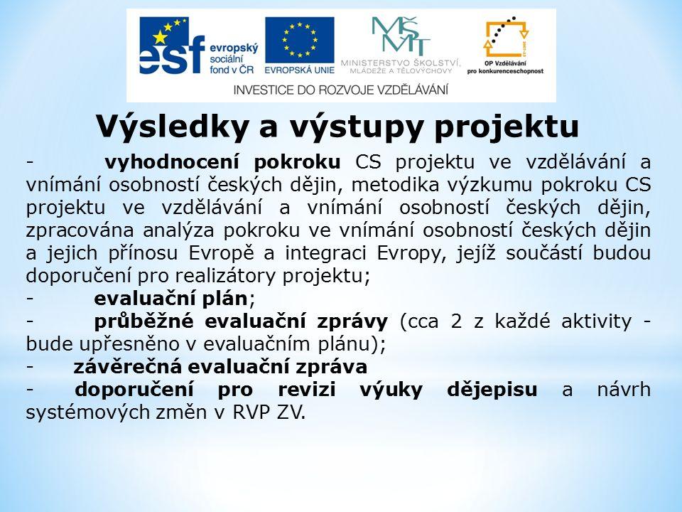- vyhodnocení pokroku CS projektu ve vzdělávání a vnímání osobností českých dějin, metodika výzkumu pokroku CS projektu ve vzdělávání a vnímání osobností českých dějin, zpracována analýza pokroku ve vnímání osobností českých dějin a jejich přínosu Evropě a integraci Evropy, jejíž součástí budou doporučení pro realizátory projektu; -evaluační plán; -průběžné evaluační zprávy (cca 2 z každé aktivity - bude upřesněno v evaluačním plánu); - závěrečná evaluační zpráva - doporučení pro revizi výuky dějepisu a návrh systémových změn v RVP ZV.