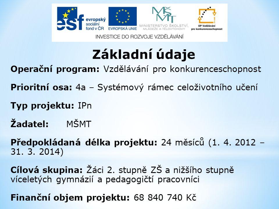 Základní údaje Operační program: Vzdělávání pro konkurenceschopnost Prioritní osa: 4a – Systémový rámec celoživotního učení Typ projektu: IPn Žadatel: MŠMT Předpokládaná délka projektu: 24 měsíců (1.