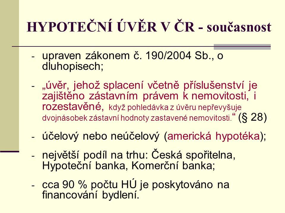 HYPOTEČNÍ ÚVĚR V ČR - současnost - upraven zákonem č.
