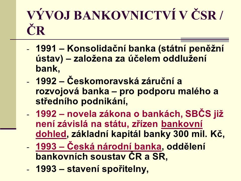 VÝVOJ BANKOVNICTVÍ V ČSR / ČR - 1991 – Konsolidační banka (státní peněžní ústav) – založena za účelem oddlužení bank, - 1992 – Českomoravská záruční a rozvojová banka – pro podporu malého a středního podnikání, - 1992 – novela zákona o bankách, SBČS již není závislá na státu, zřízen bankovní dohled, základní kapitál banky 300 mil.
