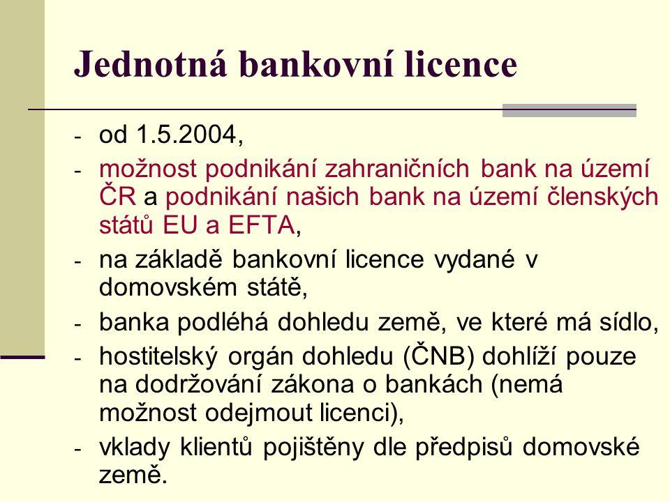 Jednotná bankovní licence - od 1.5.2004, - možnost podnikání zahraničních bank na území ČR a podnikání našich bank na území členských států EU a EFTA, - na základě bankovní licence vydané v domovském státě, - banka podléhá dohledu země, ve které má sídlo, - hostitelský orgán dohledu (ČNB) dohlíží pouze na dodržování zákona o bankách (nemá možnost odejmout licenci), - vklady klientů pojištěny dle předpisů domovské země.