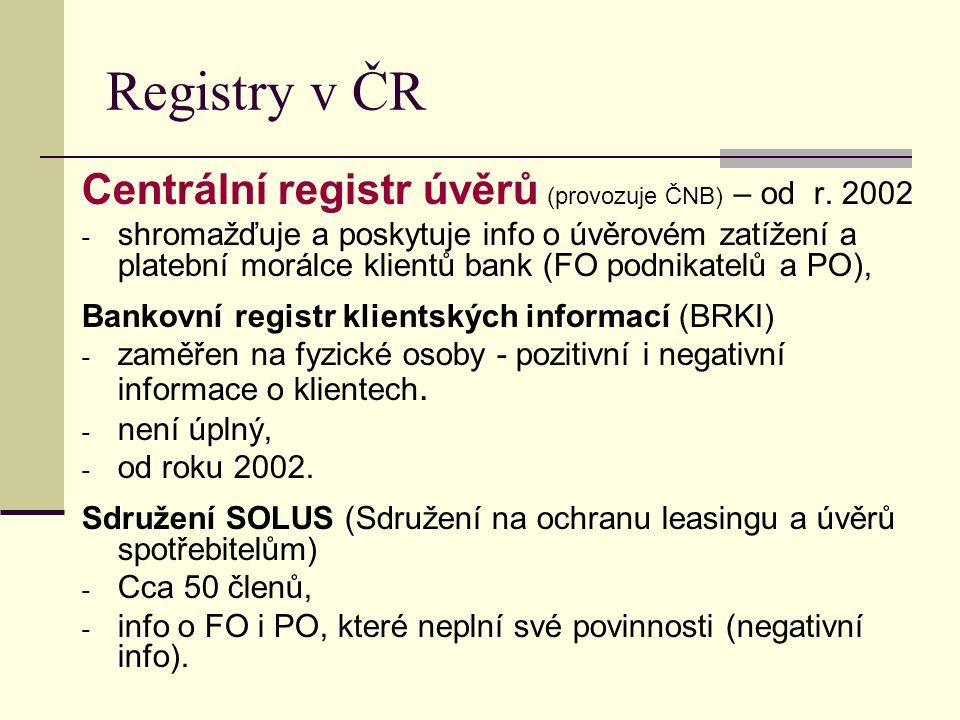 Registry v ČR Centrální registr úvěrů (provozuje ČNB) – od r.