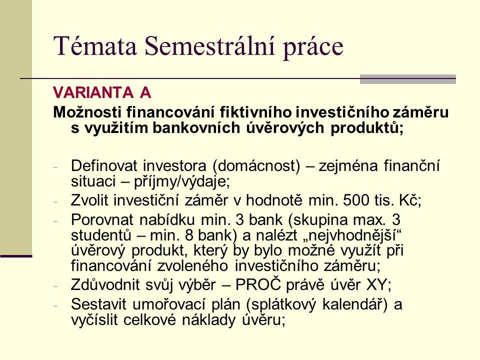 Témata Semestrální práce VARIANTA A Možnosti financování fiktivního investičního záměru s využitím bankovních úvěrových produktů; - Definovat investora (domácnost) – zejména finanční situaci – příjmy/výdaje; - Zvolit investiční záměr v hodnotě min.