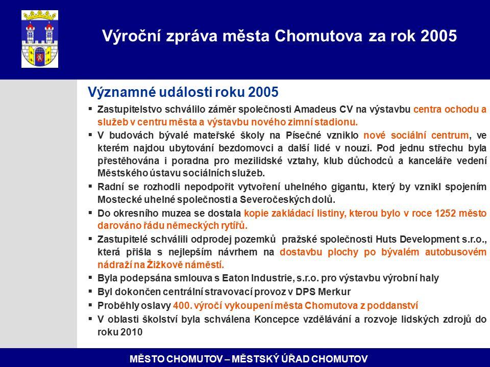 MĚSTO CHOMUTOV – MĚSTSKÝ ÚŘAD CHOMUTOV Významné události roku 2005  Zastupitelstvo schválilo záměr společnosti Amadeus CV na výstavbu centra ochodu a služeb v centru města a výstavbu nového zimní stadionu.