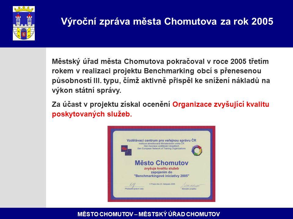 MĚSTO CHOMUTOV – MĚSTSKÝ ÚŘAD CHOMUTOV Městský úřad města Chomutova pokračoval v roce 2005 třetím rokem v realizaci projektu Benchmarking obcí s přenesenou působností III.
