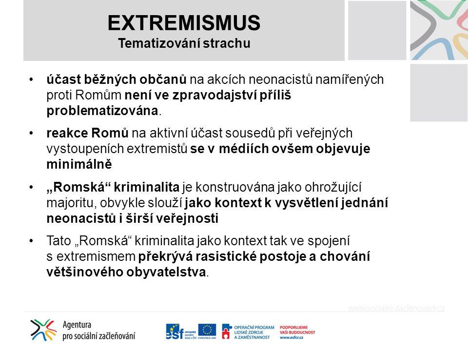 EXTREMISMUS Tematizování strachu účast běžných občanů na akcích neonacistů namířených proti Romům není ve zpravodajství příliš problematizována.