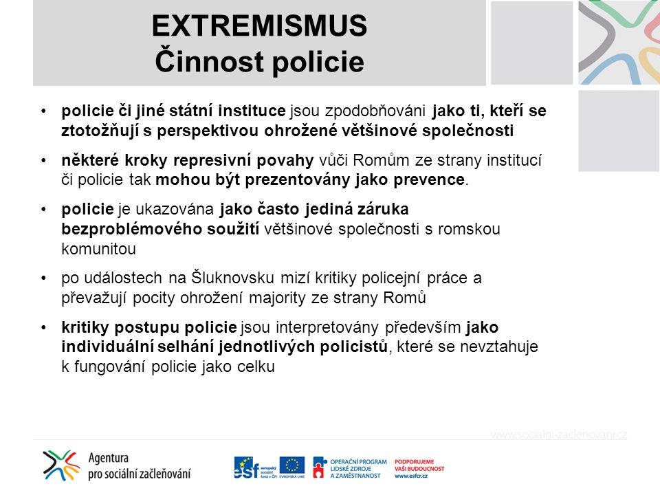 EXTREMISMUS Činnost policie policie či jiné státní instituce jsou zpodobňováni jako ti, kteří se ztotožňují s perspektivou ohrožené většinové společnosti některé kroky represivní povahy vůči Romům ze strany institucí či policie tak mohou být prezentovány jako prevence.