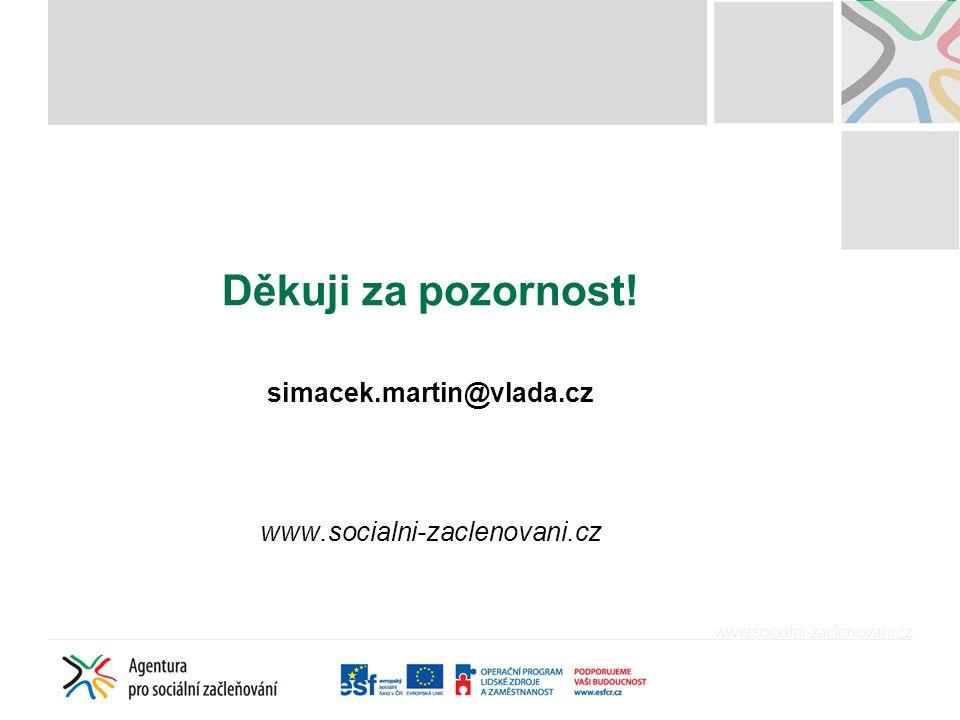 Děkuji za pozornost! simacek.martin@vlada.cz www.socialni-zaclenovani.cz