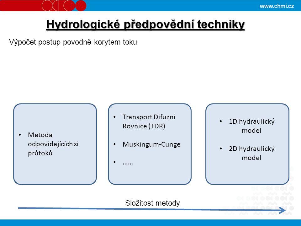 Hydrologické předpovědní techniky Metoda odpovídajících si průtoků Transport Difuzní Rovnice (TDR) Muskingum-Cunge …… 1D hydraulický model 2D hydraulický model Složitost metody Výpočet postup povodně korytem toku