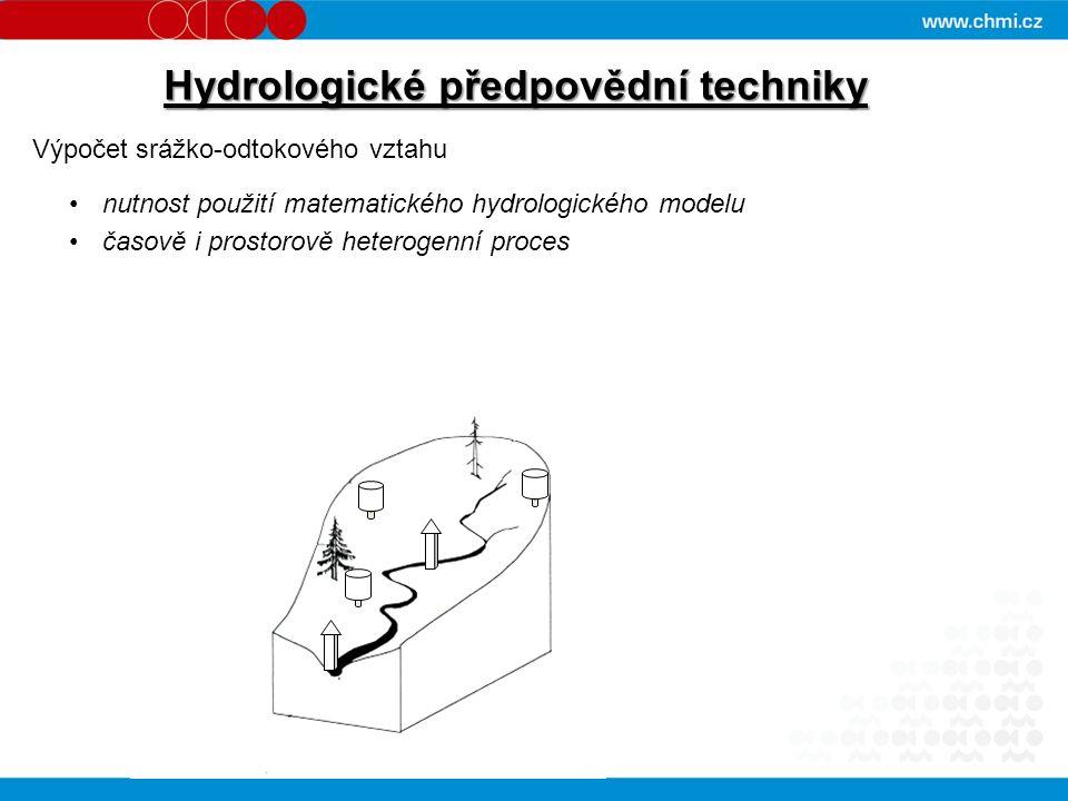 Hydrologické předpovědní techniky Výpočet srážko-odtokového vztahu nutnost použití matematického hydrologického modelu časově i prostorově heterogenní proces