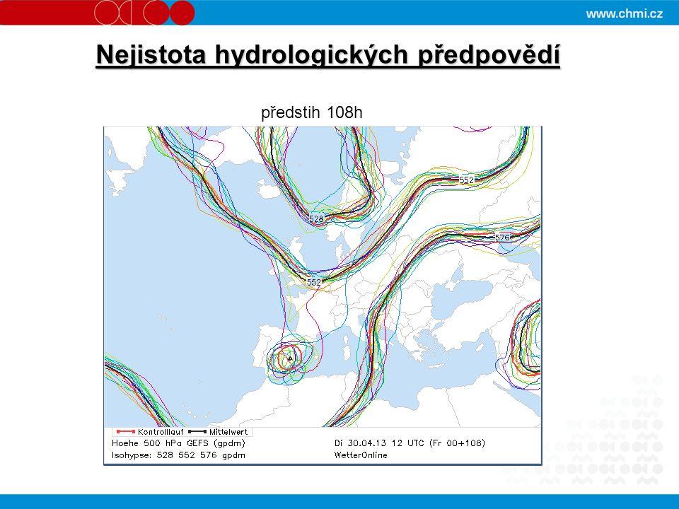 Nejistota hydrologických předpovědí předstih 108h