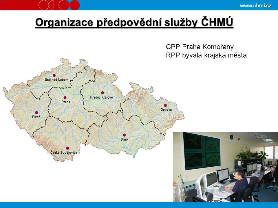 Organizace předpovědní služby ČHMÚ CPP Praha Komořany RPP bývalá krajská města