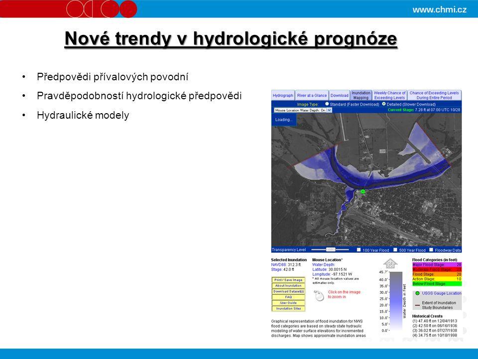 Nové trendy v hydrologické prognóze Předpovědi přívalových povodní Pravděpodobností hydrologické předpovědi Hydraulické modely