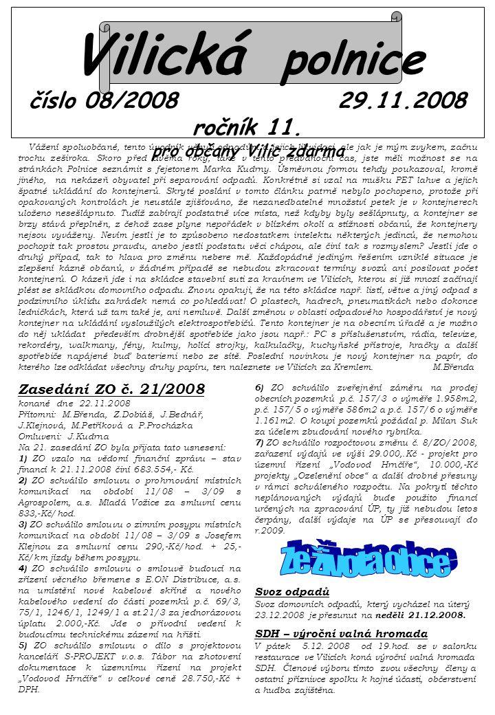 Vilická polnice číslo 08/2008 29.11.2008 ročník 11.