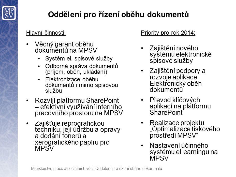 Ministerstvo práce a sociálních věcí, Oddělení pro řízení oběhu dokumentů Oddělení pro řízení oběhu dokumentů Hlavní činnosti: Věcný garant oběhu dokumentů na MPSV Systém el.