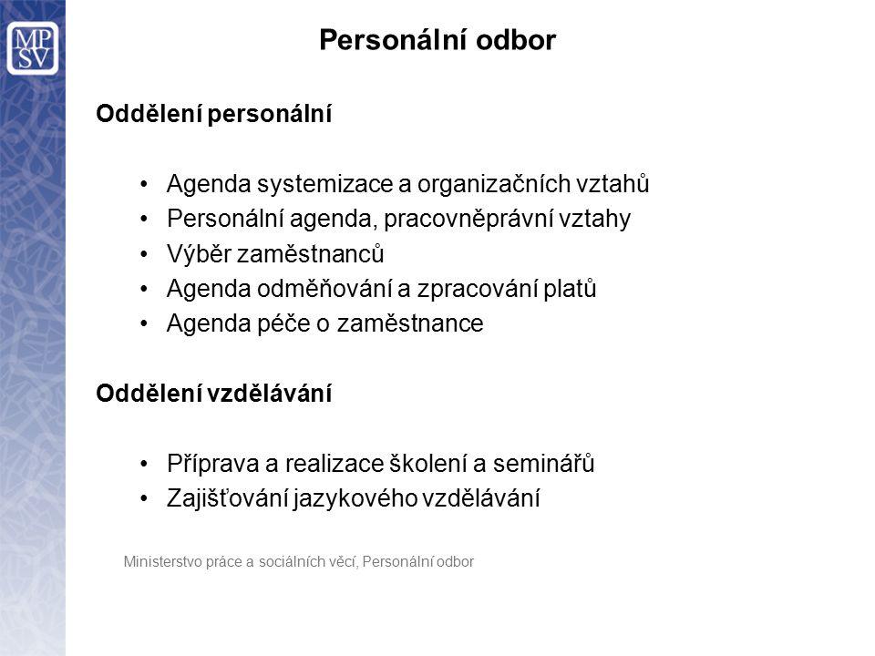 Personální odbor Oddělení personální Agenda systemizace a organizačních vztahů Personální agenda, pracovněprávní vztahy Výběr zaměstnanců Agenda odměň