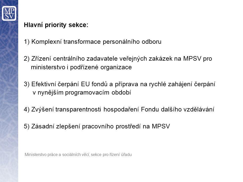 Hlavní priority sekce: 1) Komplexní transformace personálního odboru 2) Zřízení centrálního zadavatele veřejných zakázek na MPSV pro ministerstvo i po