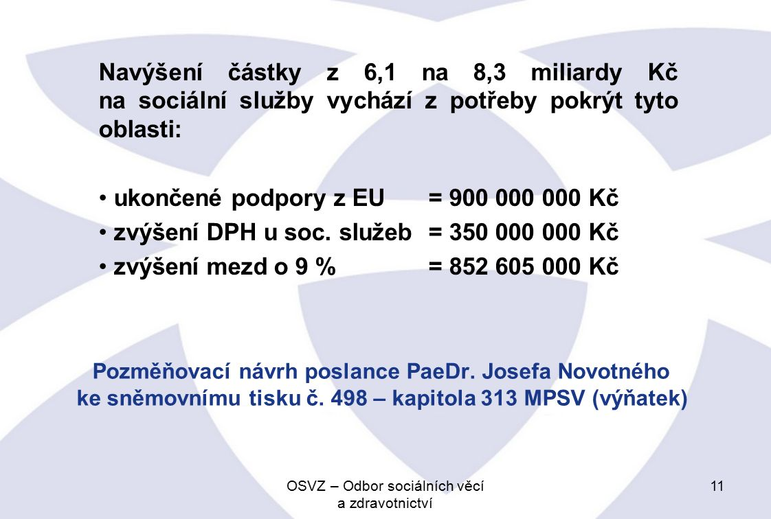 Pozměňovací návrh poslance PaeDr.Josefa Novotného ke sněmovnímu tisku č.
