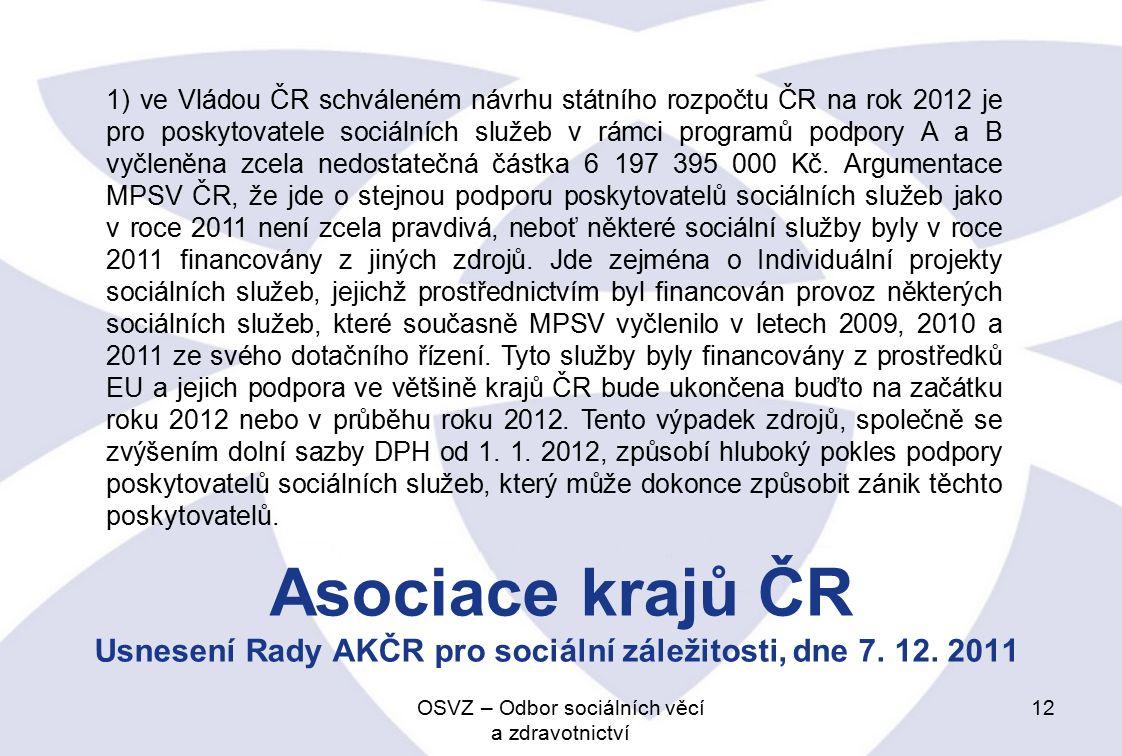 Asociace krajů ČR Usnesení Rady AKČR pro sociální záležitosti, dne 7.