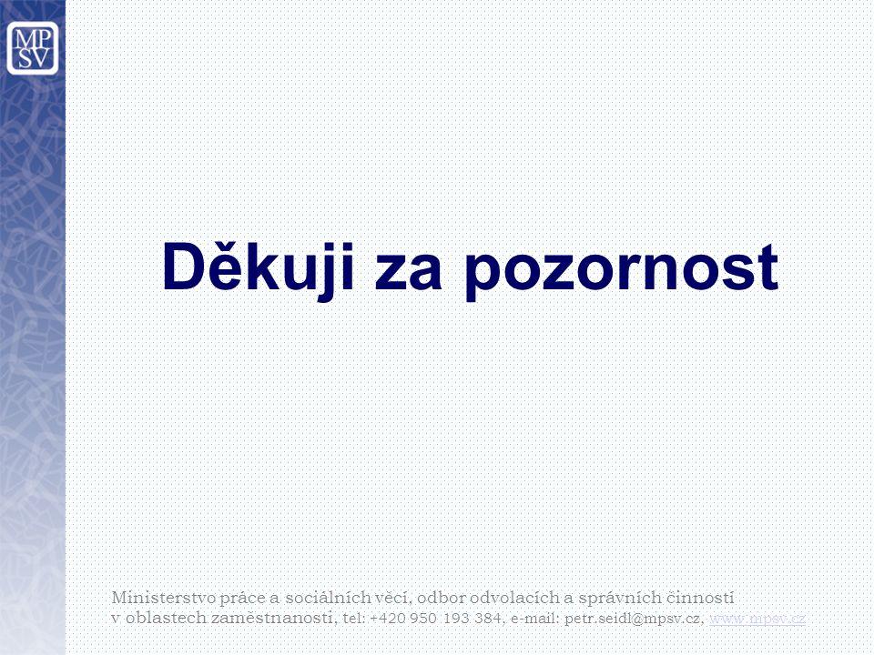 Děkuji za pozornost Ministerstvo práce a sociálních věcí, odbor odvolacích a správních činností v oblastech zaměstnanosti, t el: +420 950 193 384, e-mail: petr.seidl@mpsv.cz, www.mpsv.czwww.mpsv.cz