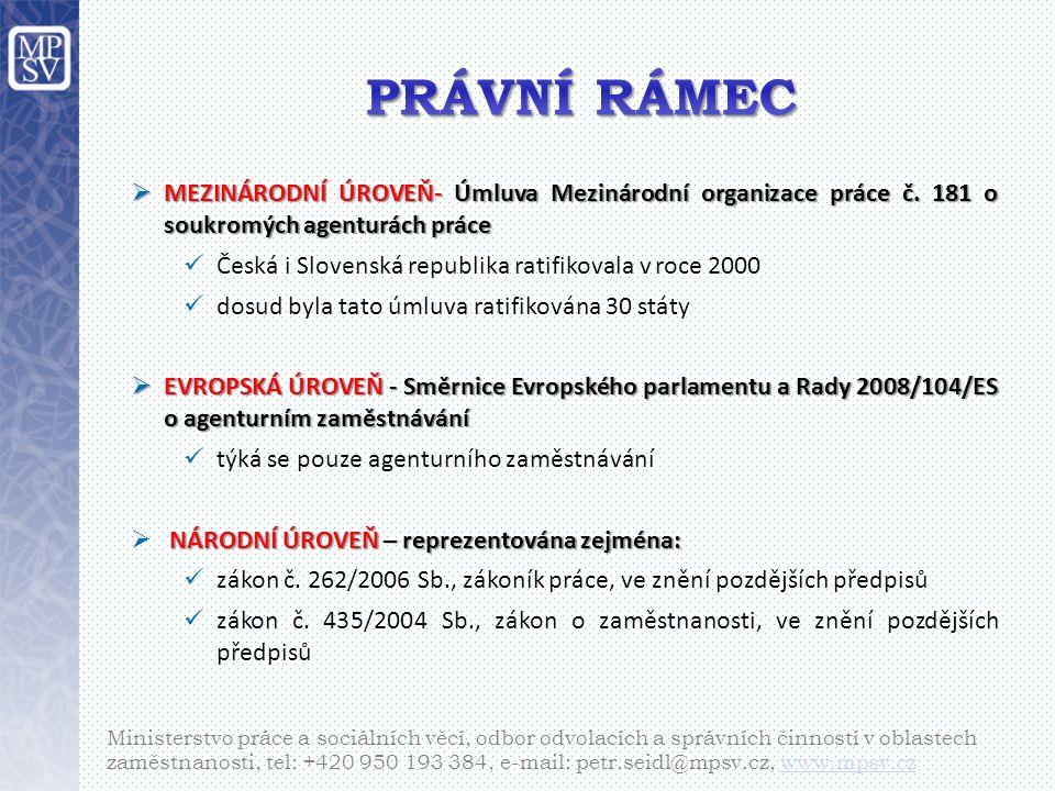  MEZINÁRODNÍ ÚROVEŇ- Úmluva Mezinárodní organizace práce č.