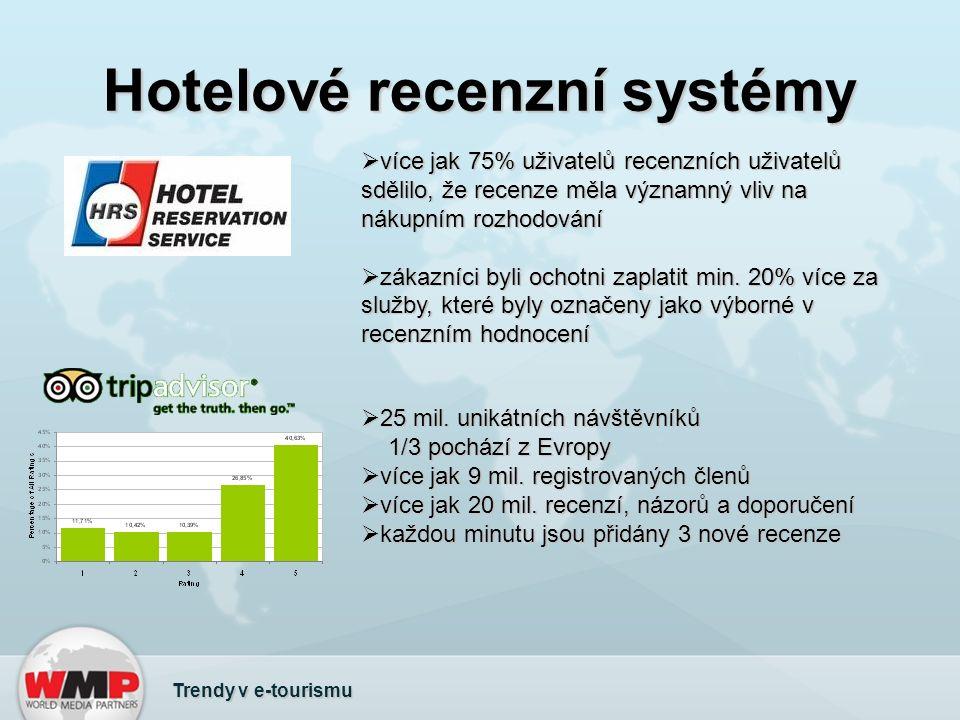 Hotelové recenzní systémy  více jak 75% uživatelů recenzních uživatelů sdělilo, že recenze měla významný vliv na nákupním rozhodování  zákazníci byli ochotni zaplatit min.