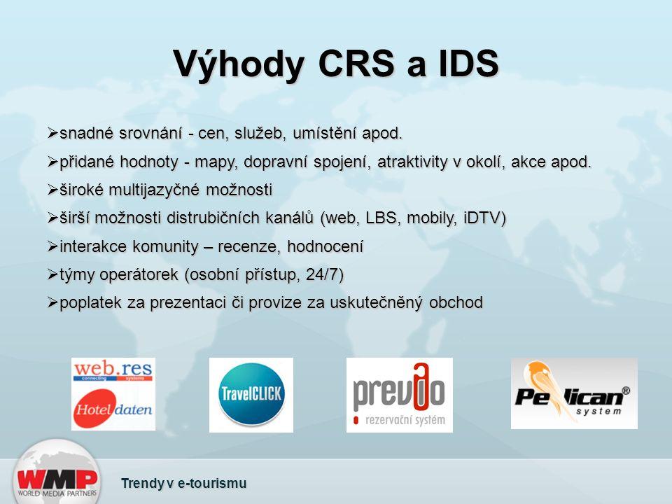 Výhody CRS a IDS  snadné srovnání - cen, služeb, umístění apod.  přidané hodnoty - mapy, dopravní spojení, atraktivity v okolí, akce apod.  široké